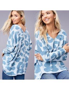 V Neck Leopard Print Sweater