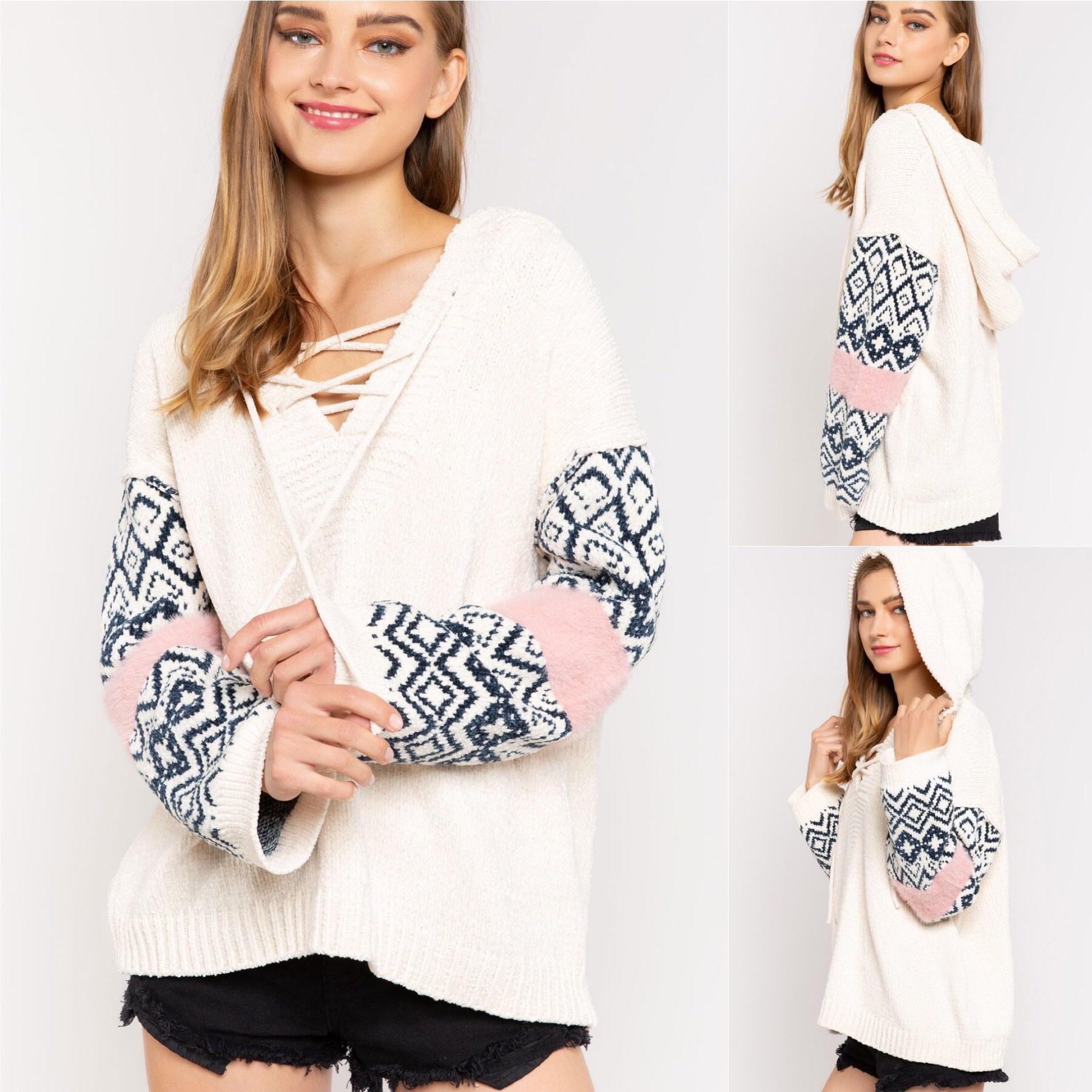 Aztec Sleeve Chenille Sweater