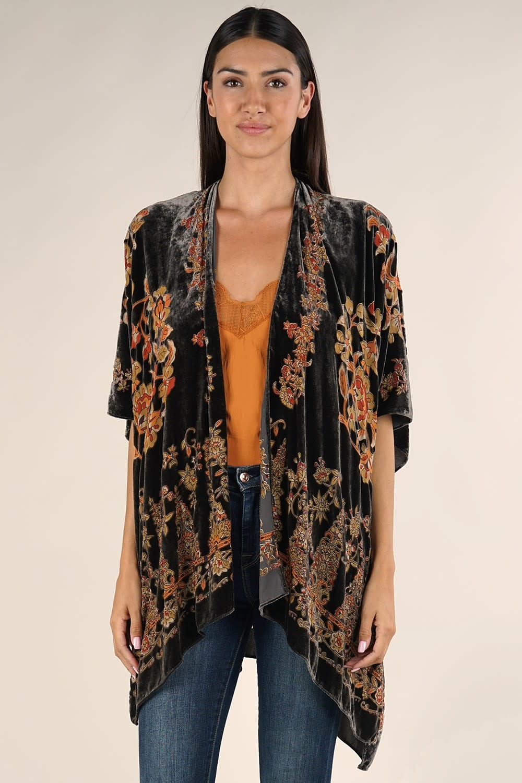 Vintage Inspired Burnout Velvet Kimono