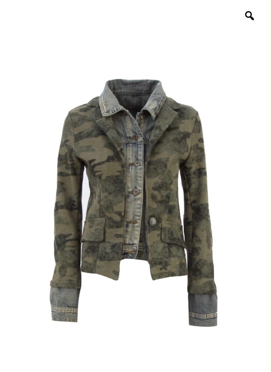 Military Denim Layered Jacket