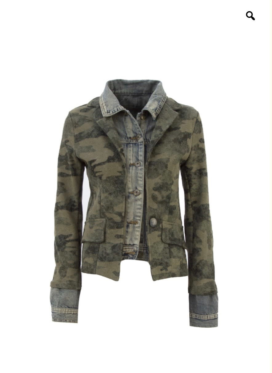 Military Denim Layered Jacket