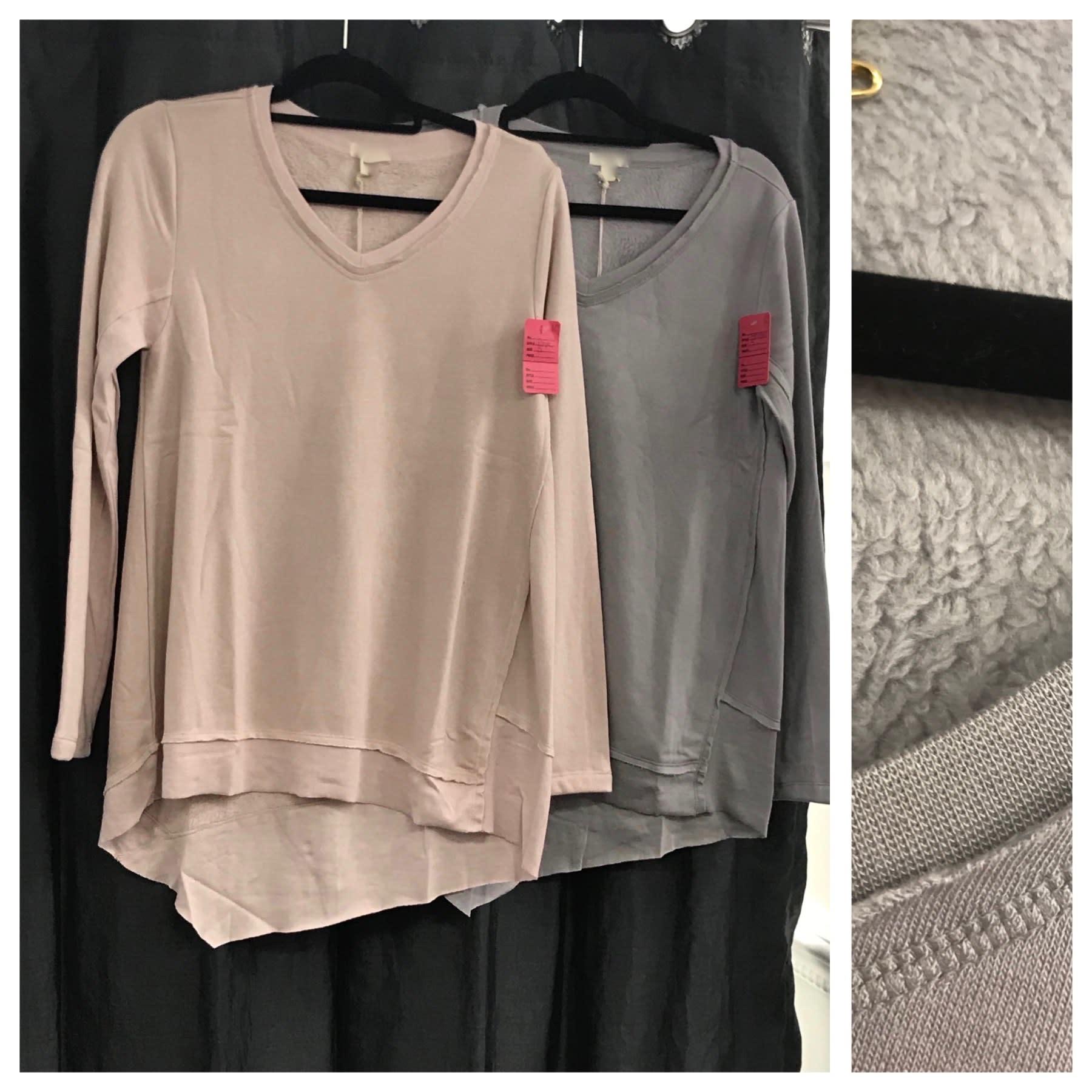 Asymmetrical Cotton Fleece V Neck Top