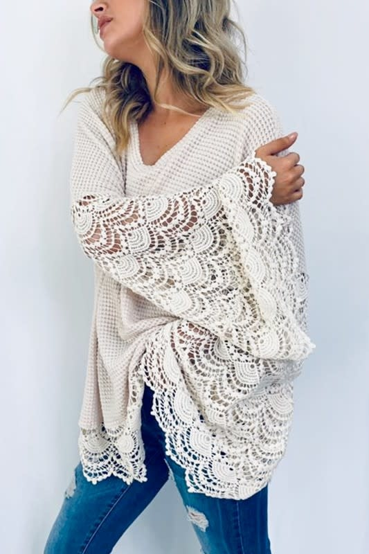Lace Detail Bell Sleeve Tunic