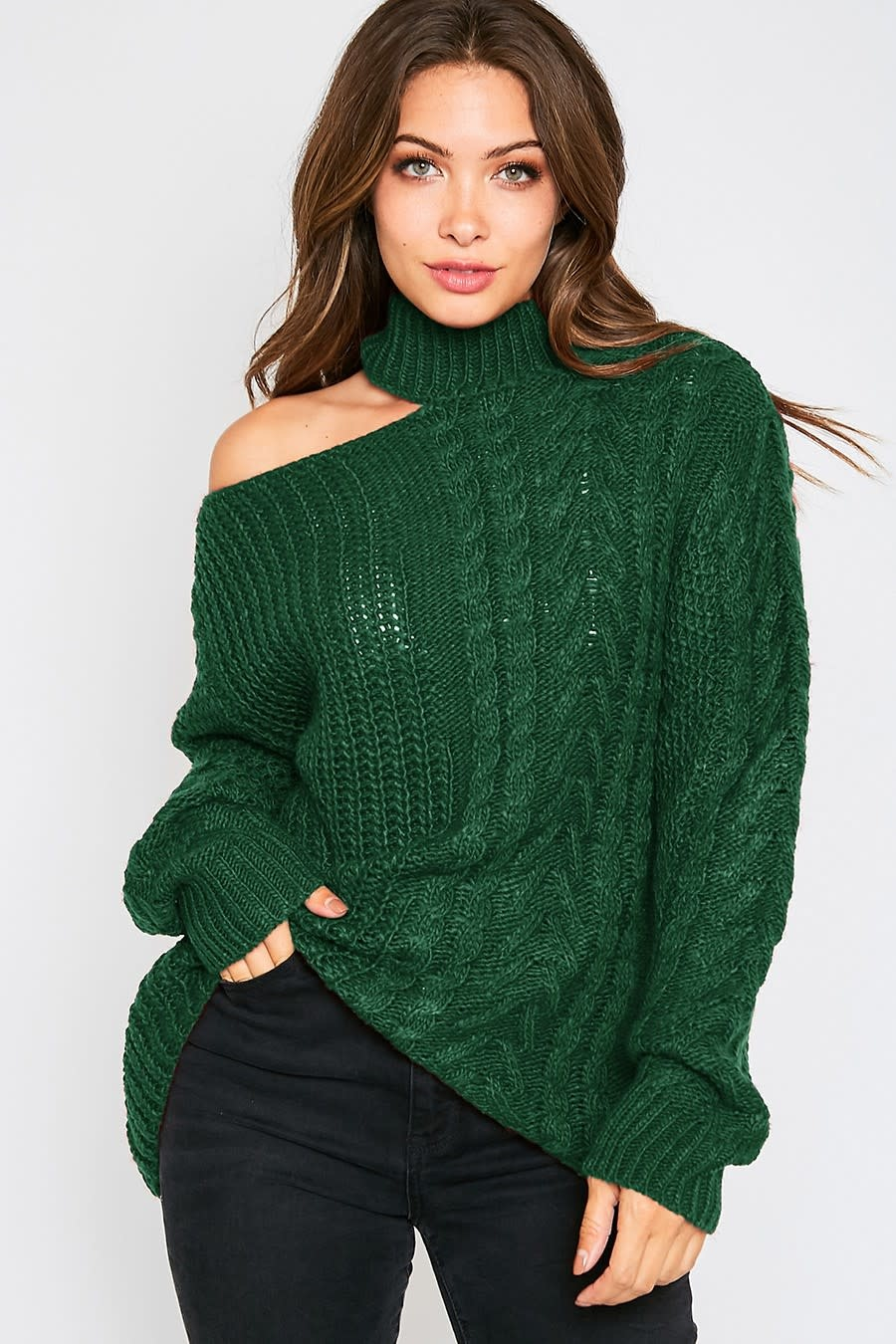 One Shoulder Cableknit Sweater