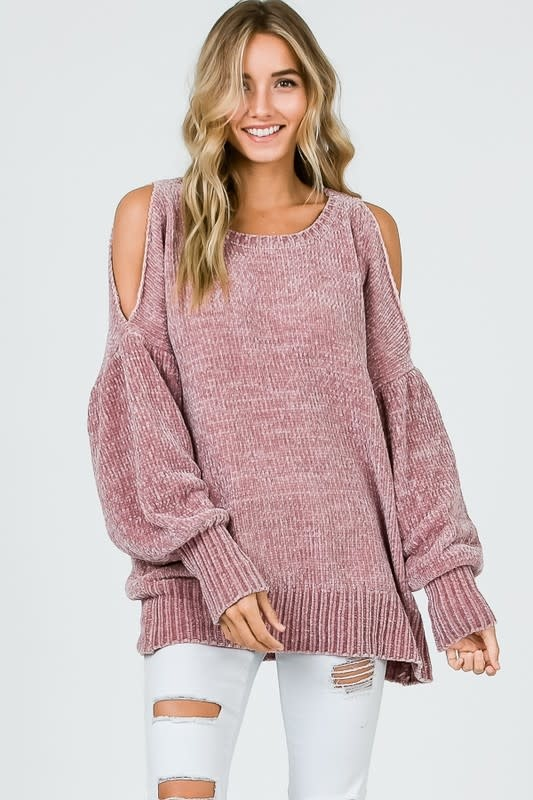 Cold shoulder Chenille Puff Sleeve Sweater