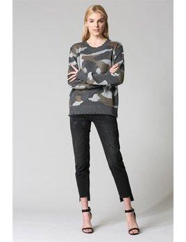 Distressed Hem Camouflage Sweater