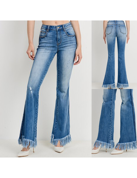 Long Frayed Hem Flare Jeans