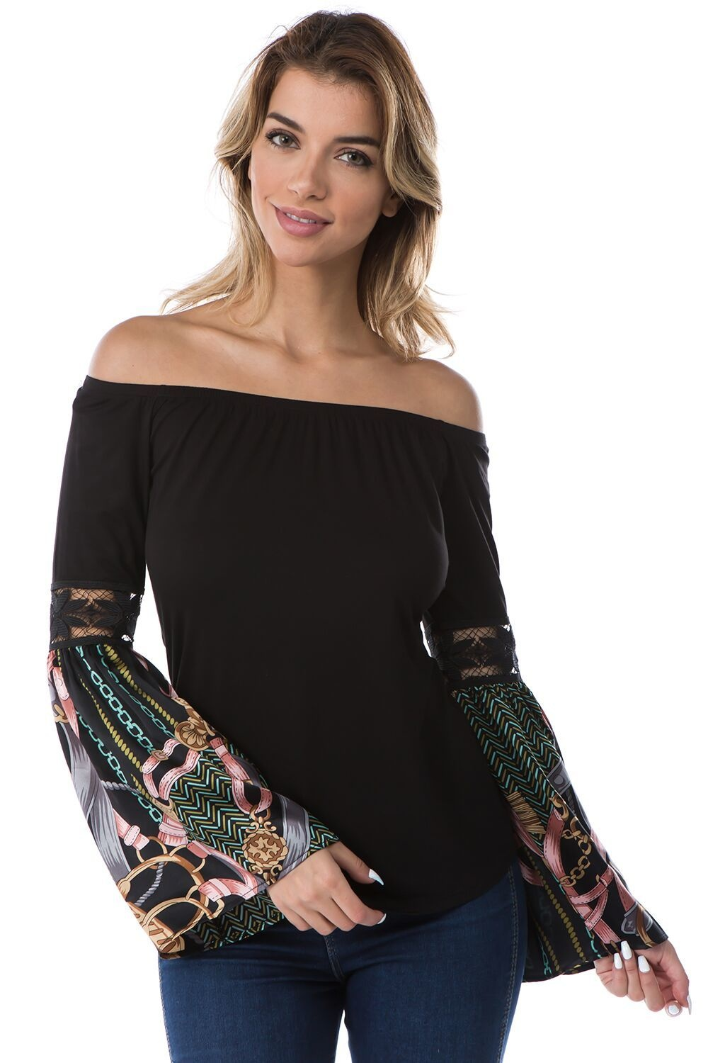 Off Shoulder Top with Silk Bell Sleeves