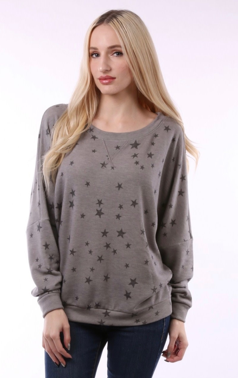 Star Print Soft Pullover Top