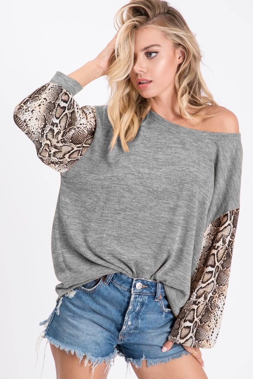 Snake Print Sleeve Top
