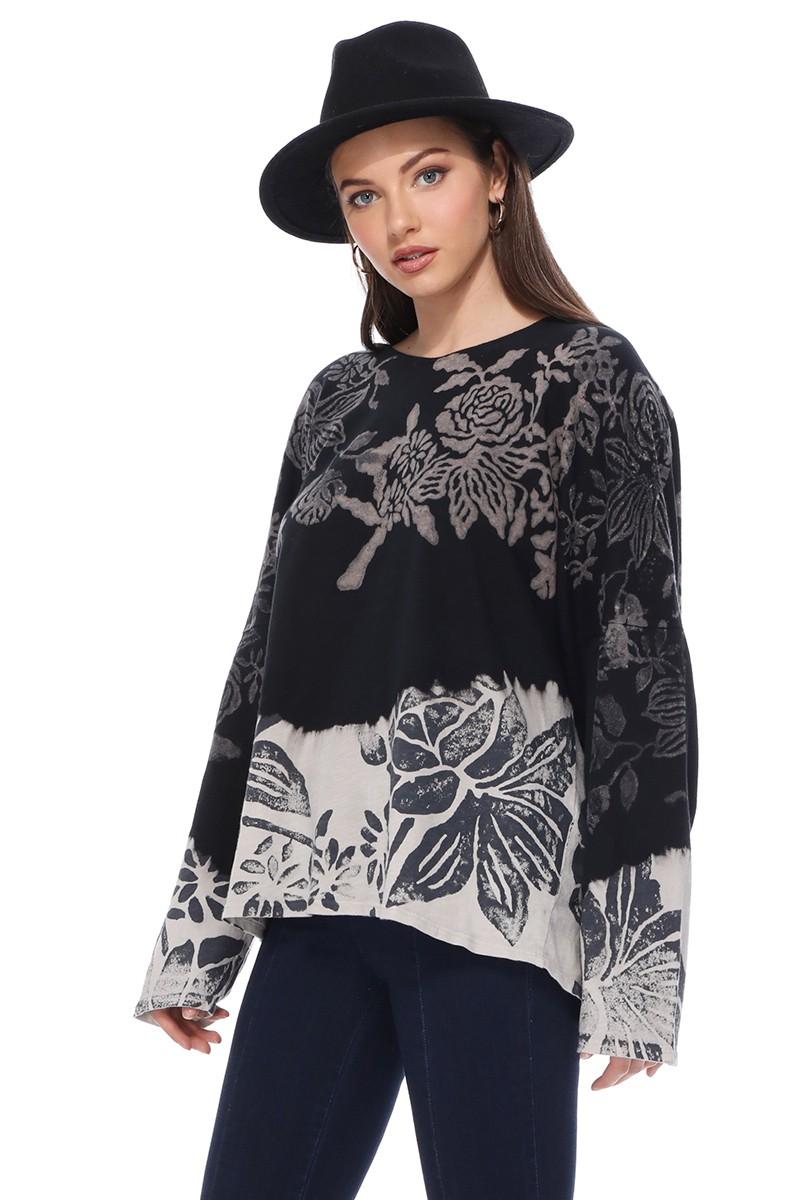 Floral Batik Hooded Sweatshirt