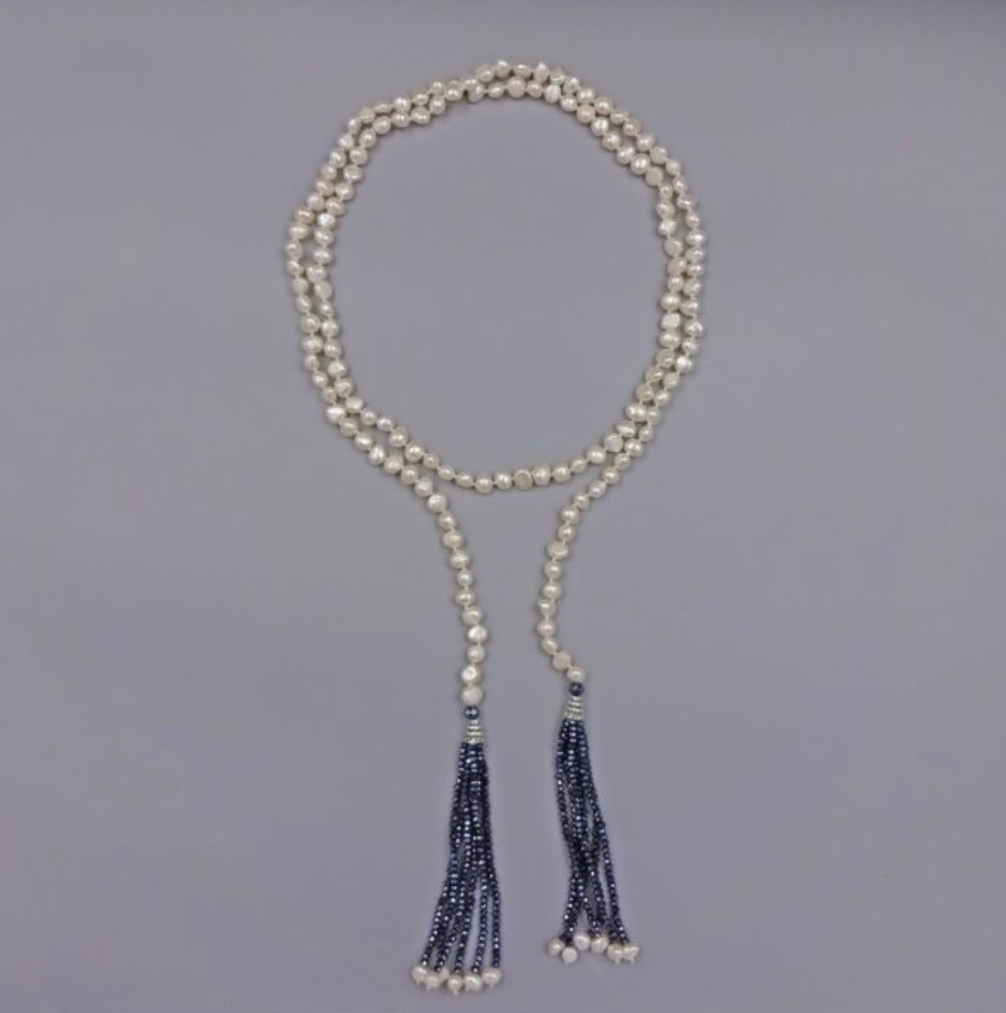 Crystal Tassel Pearl Necklace