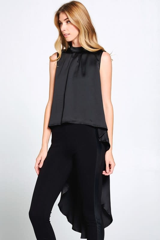 Sleeveless Hi-Lo Crepe Top