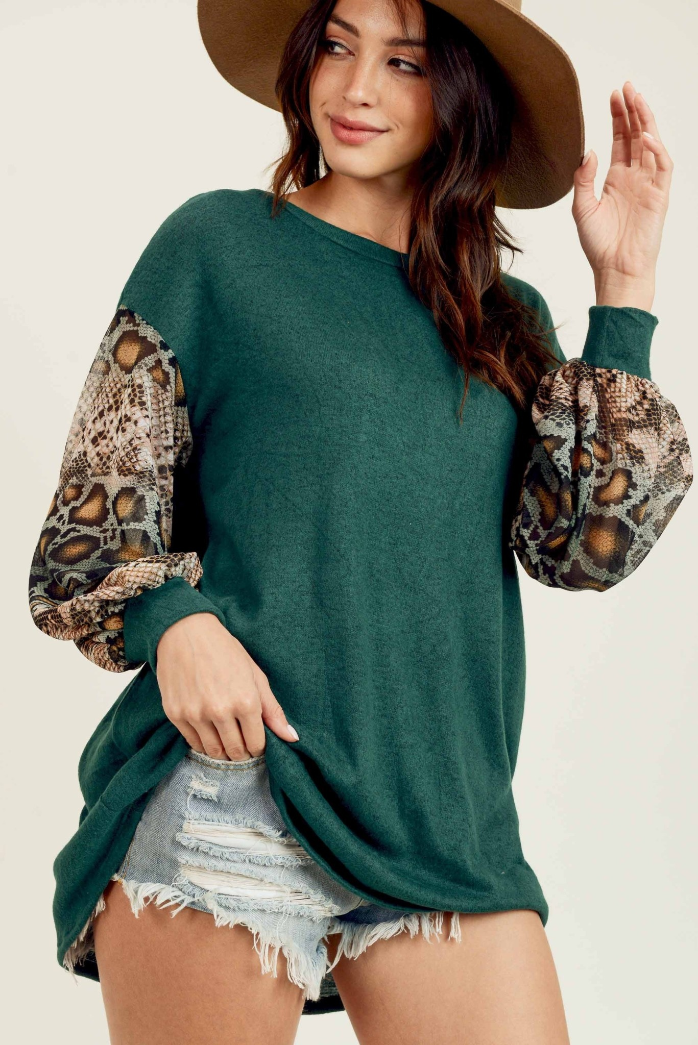 Sheer Snake Sleeve Top