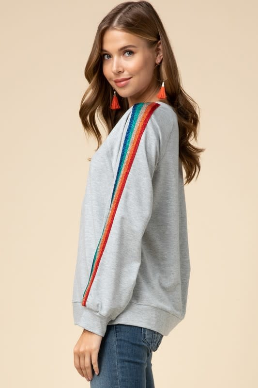 Rainbow Stripe Detail Top