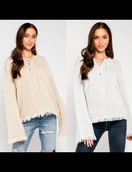 Lace Up Chevron Sweater