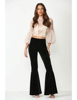 Ruffle Flare Velvet Pants