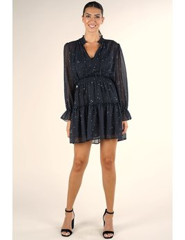 Star Print Ruffle Mini Dress