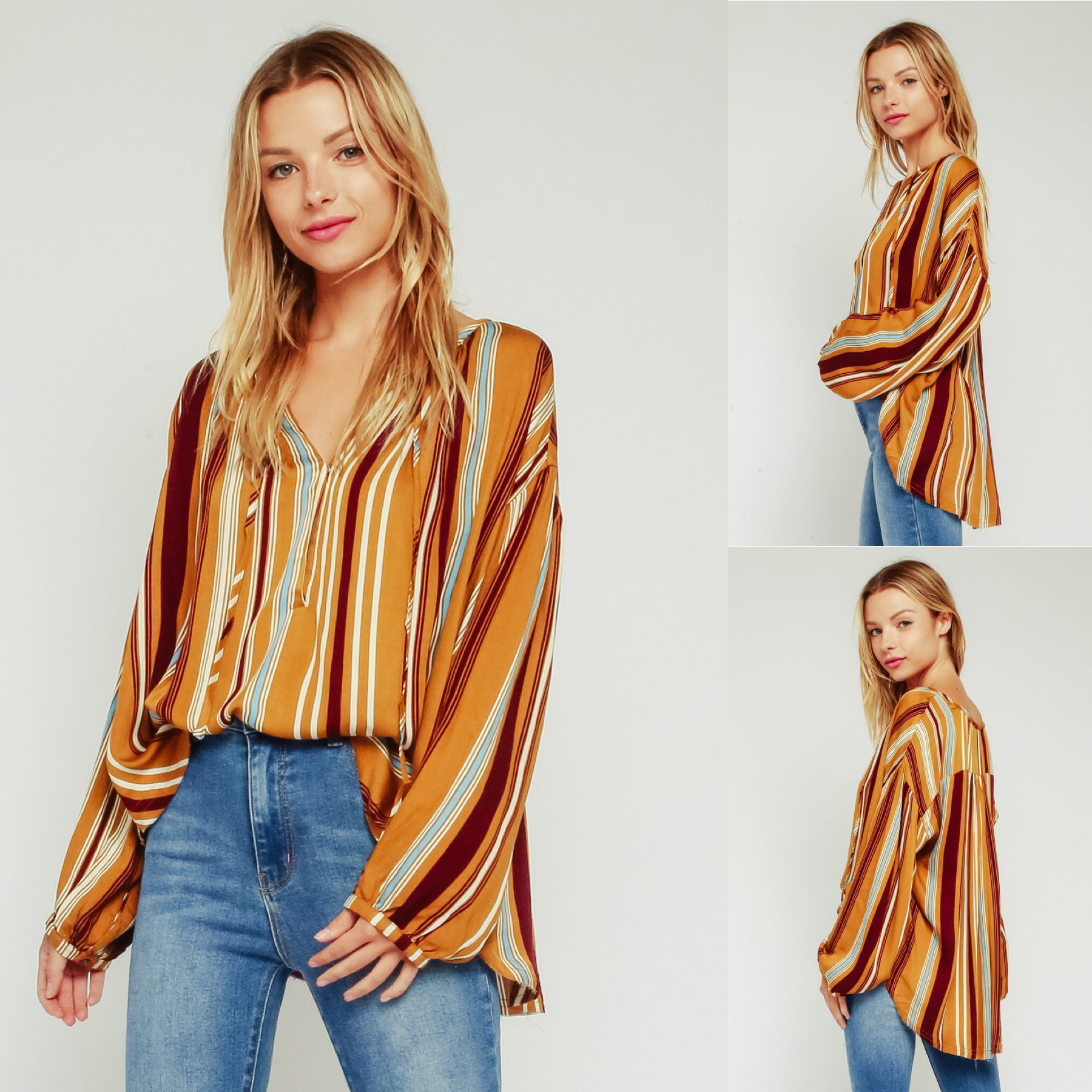 Stripe Blouse with Bubble Sleeve