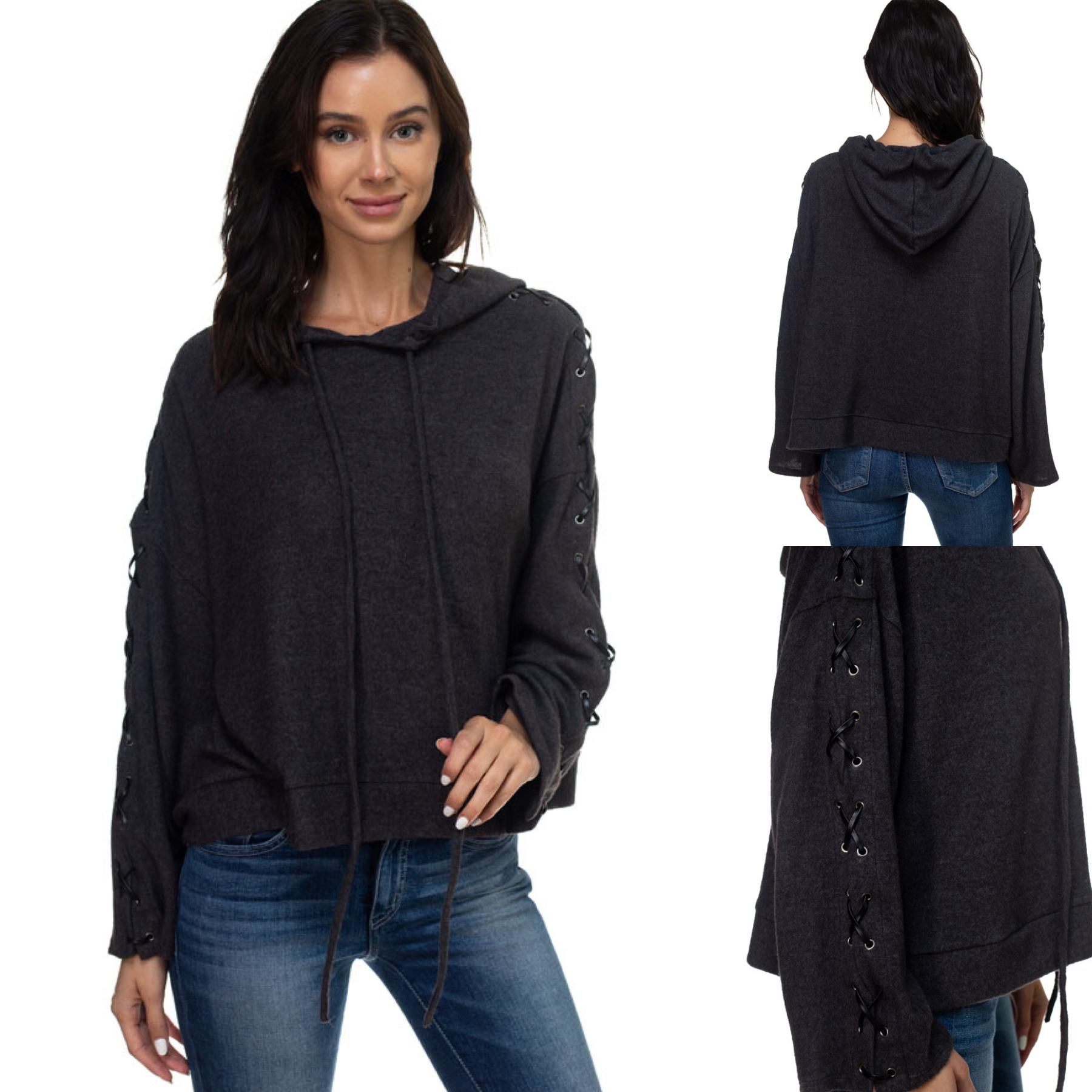 Lace Up Sleeve Cropped Hoodie