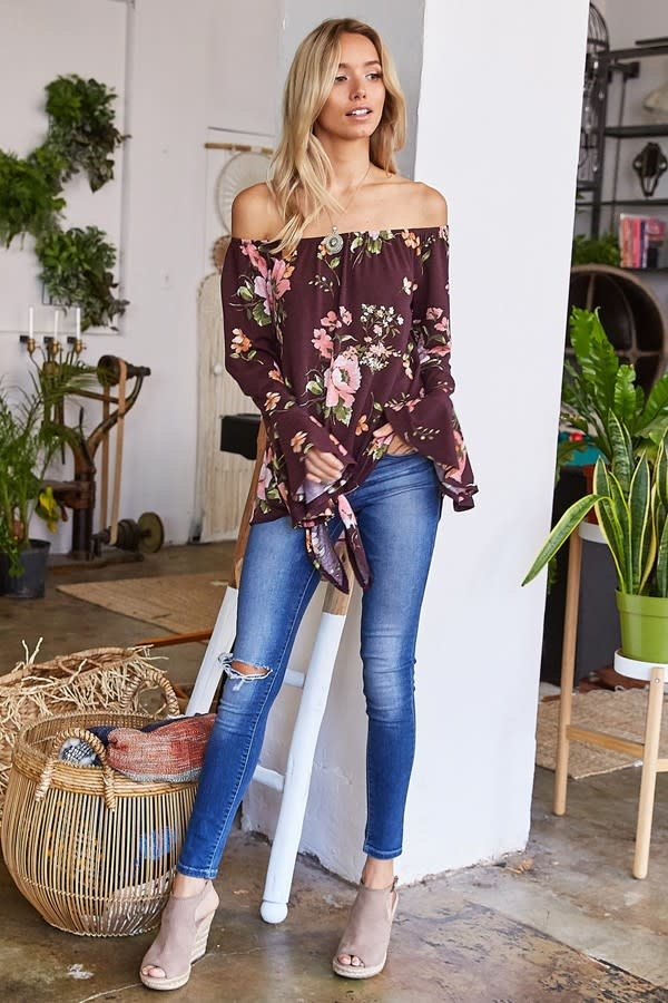 Floral Off Shoulder Tie Top