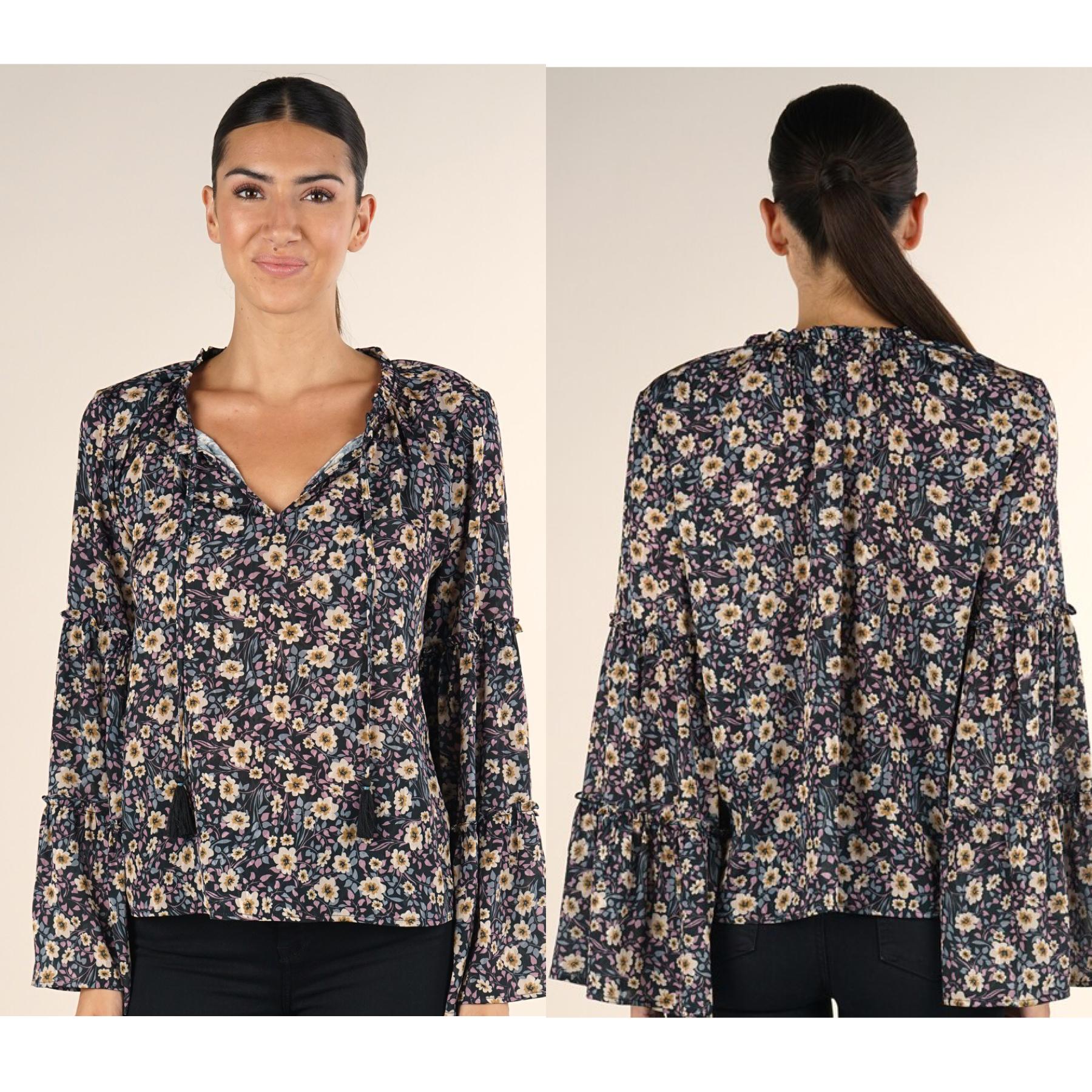 Floral Print Bell Sleeve Top
