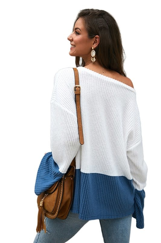 Waffle Colorblock Top with Bell Sleeve