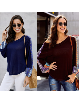 V Neck Waffle Top With Print Detail Sleeve