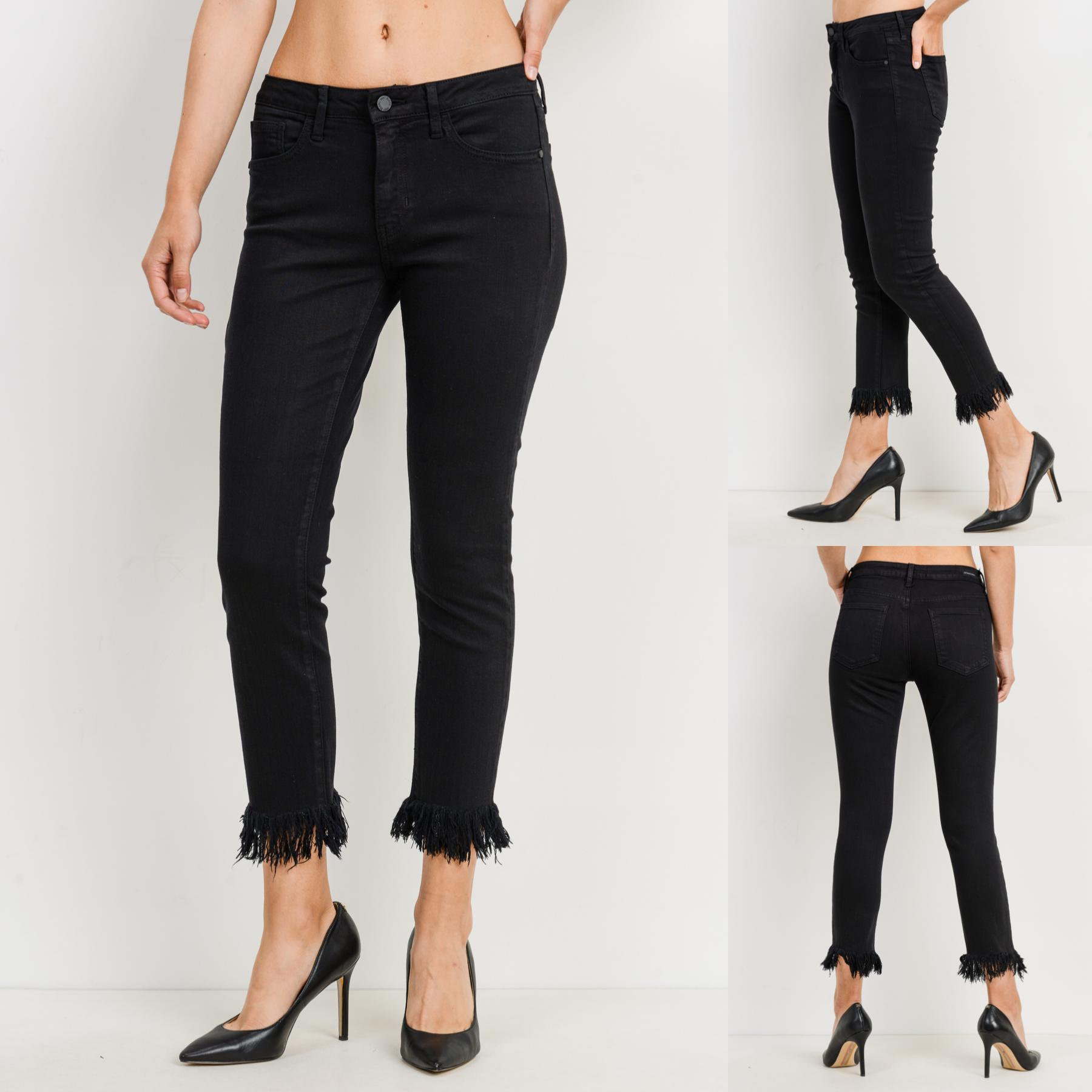 Fringe Hem Cropped Skinny Jeans