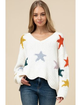 Scalloped Hem Chenille Star Sweater