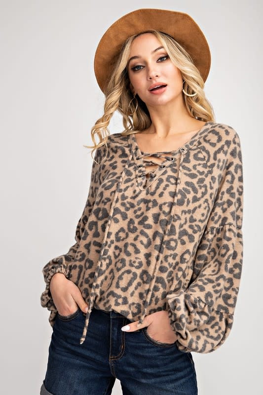 Puff Sleeve Leopard Lace Up Top
