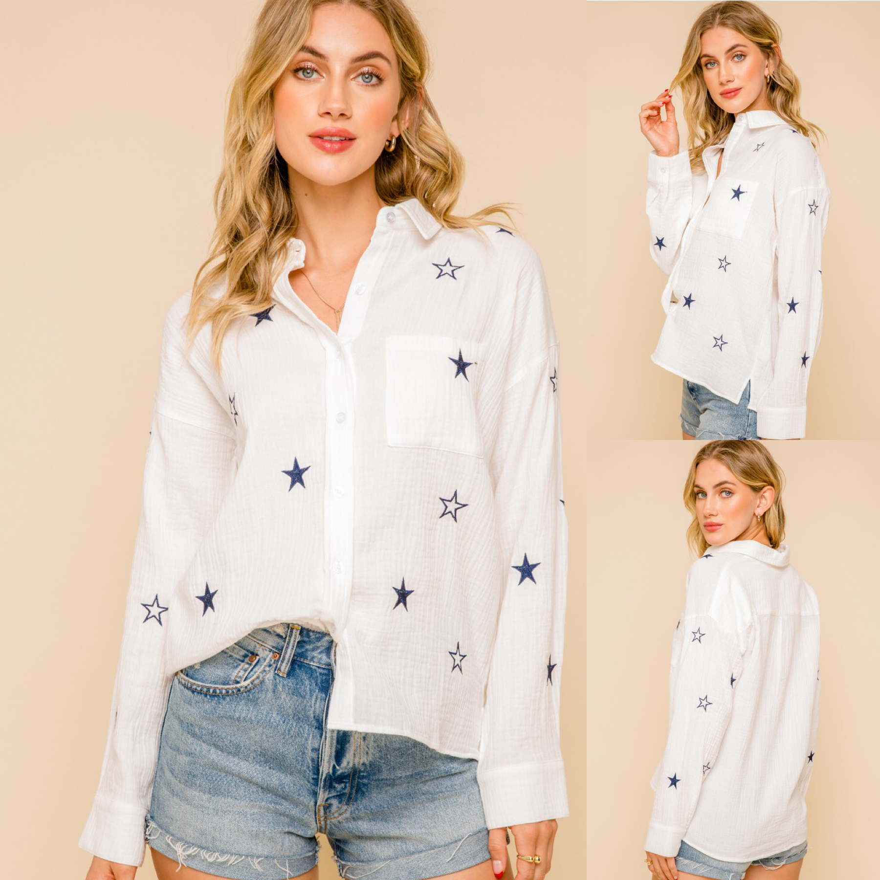 Star Embroidered Button Down Top