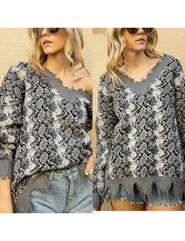 Snake Print Distressed Sweater