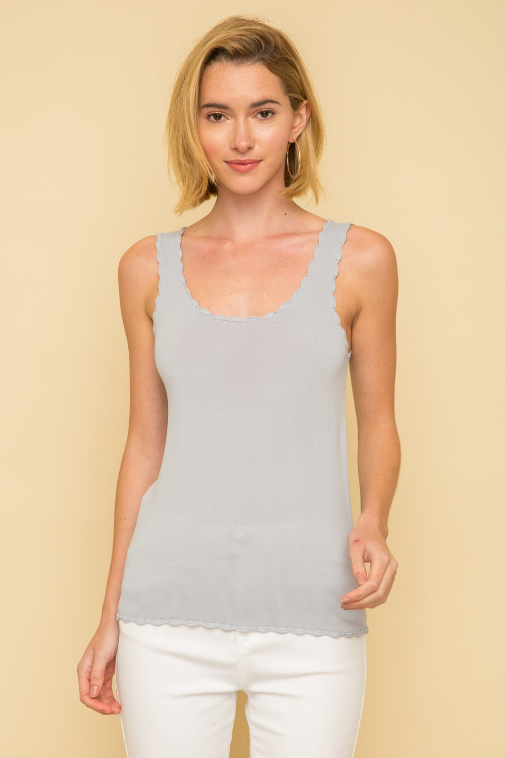 Scalloped Hem Sweater Tank