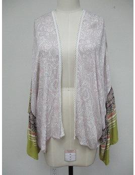 Print Ruffle Sleeve Kimono