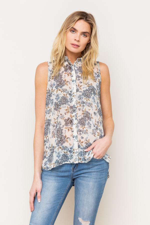 Floral Print Chiffon Shirt