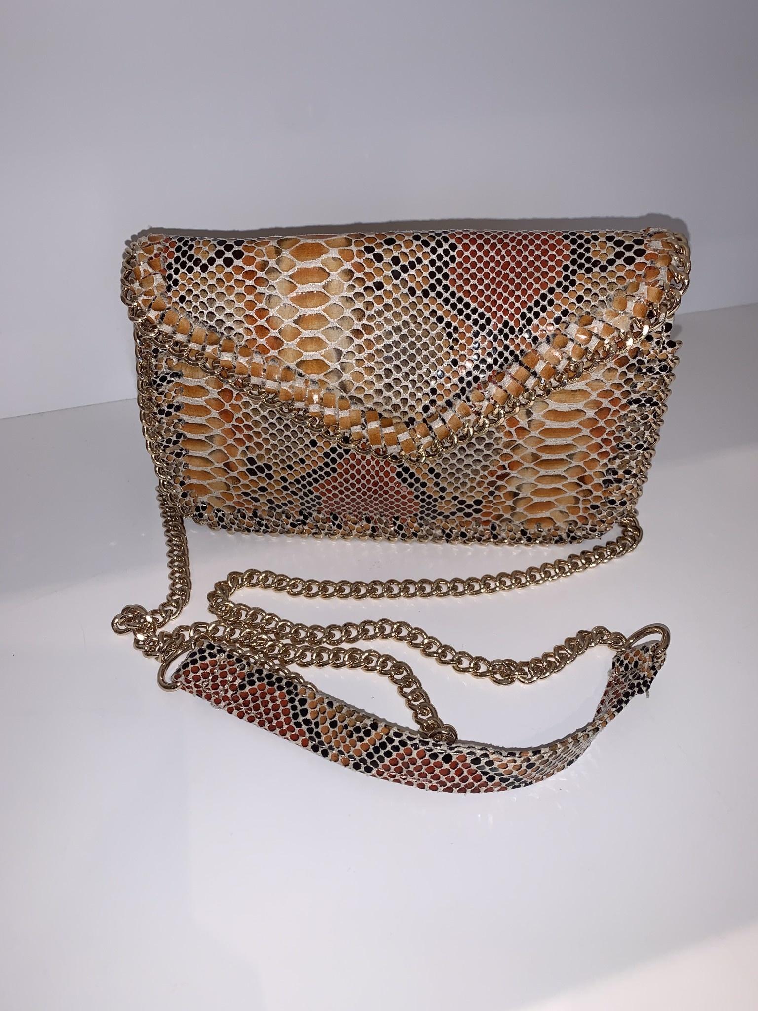 Cross Body Chain Edge Snake Print Bag