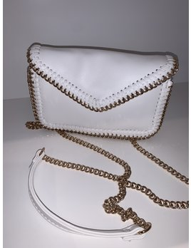 Faux Leather Clutch with Chain Trim