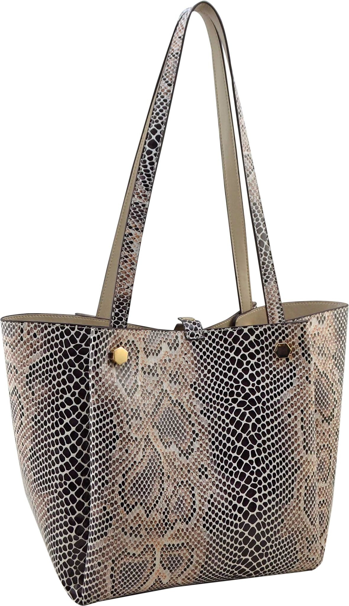 Reversible Snake Print Shopper