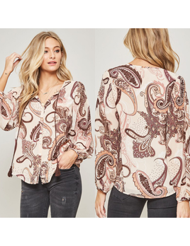 Paisley Button Down Top