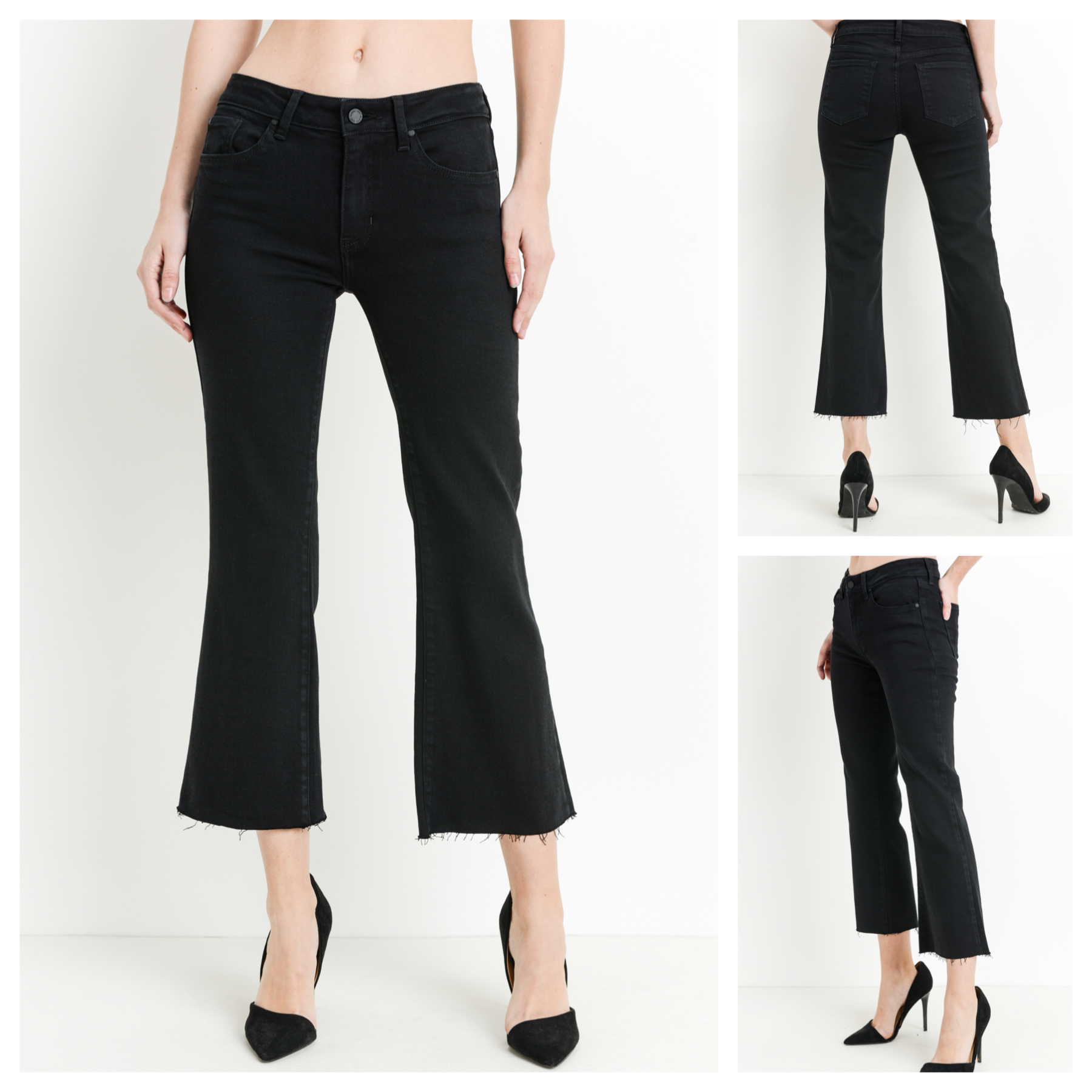 Raw Hem Capri Jeans