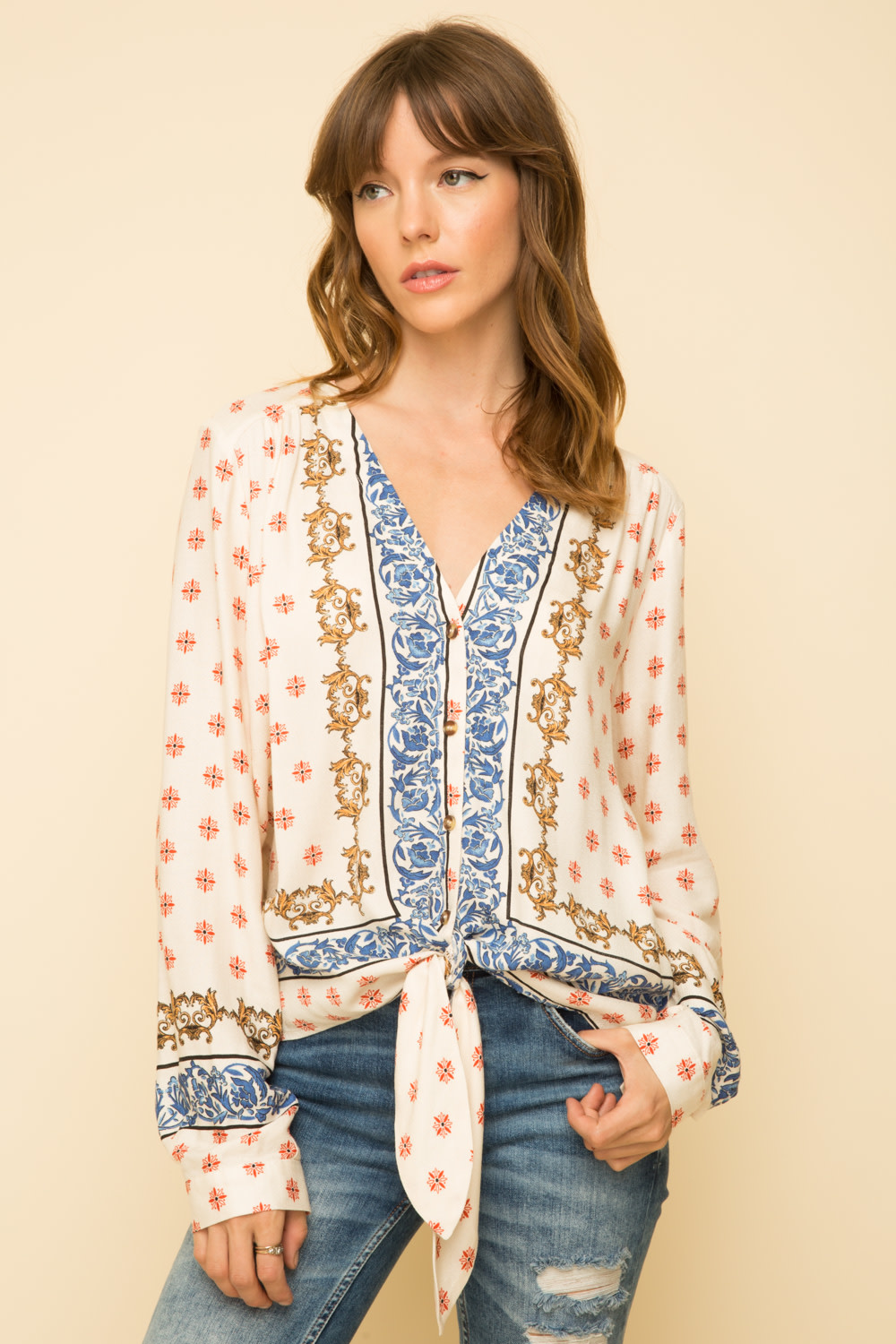 Scarf Print Tie Front Blouse