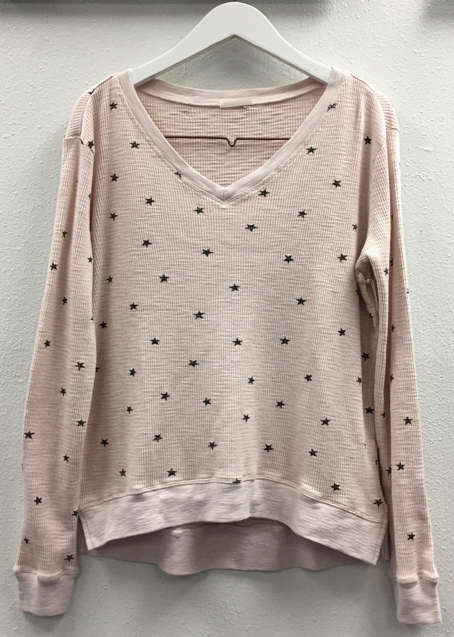 V Neck Star Waffle Top
