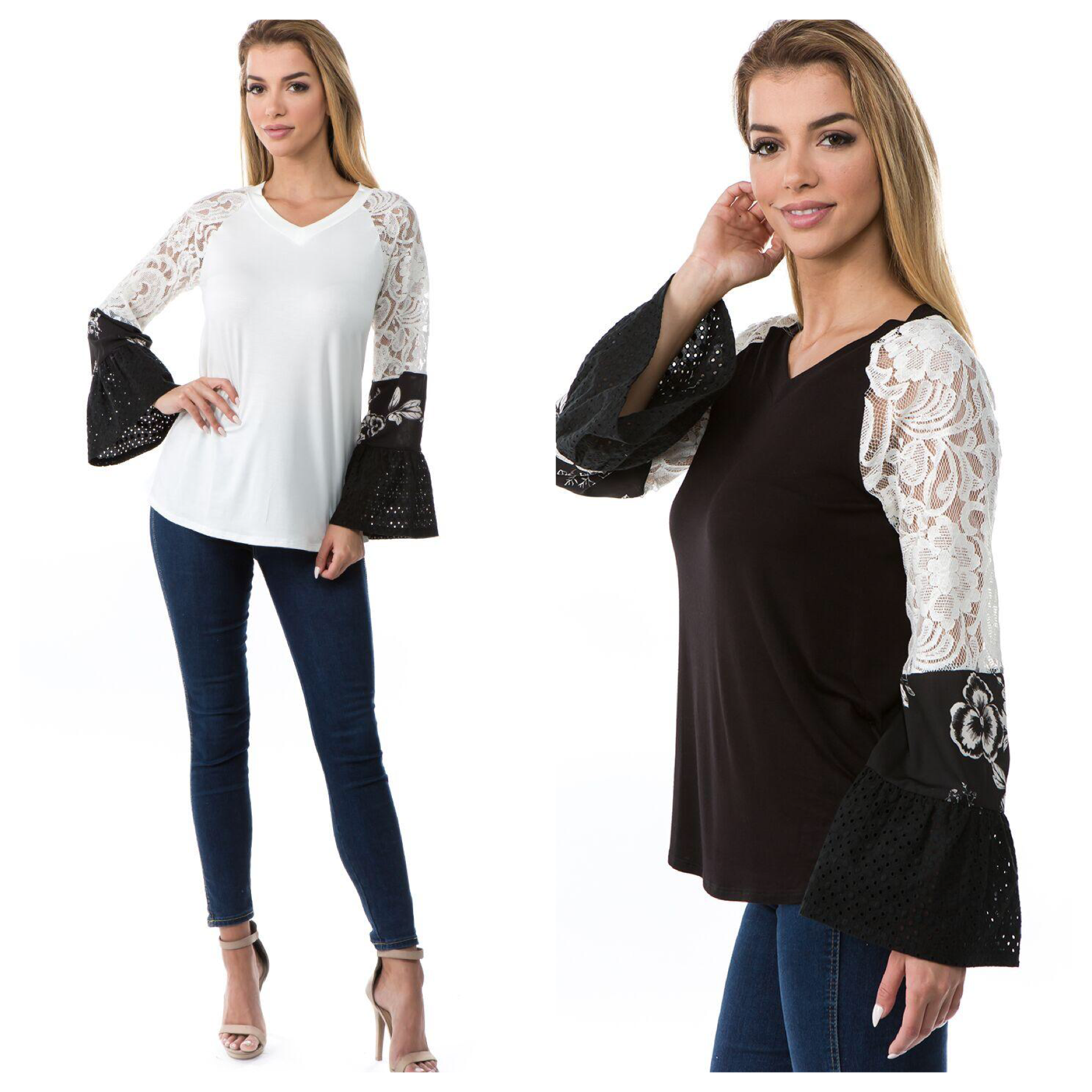 Mixed Fabric Ruffle Sleeve Top