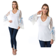 Mix Fabric Bell Sleeve Top