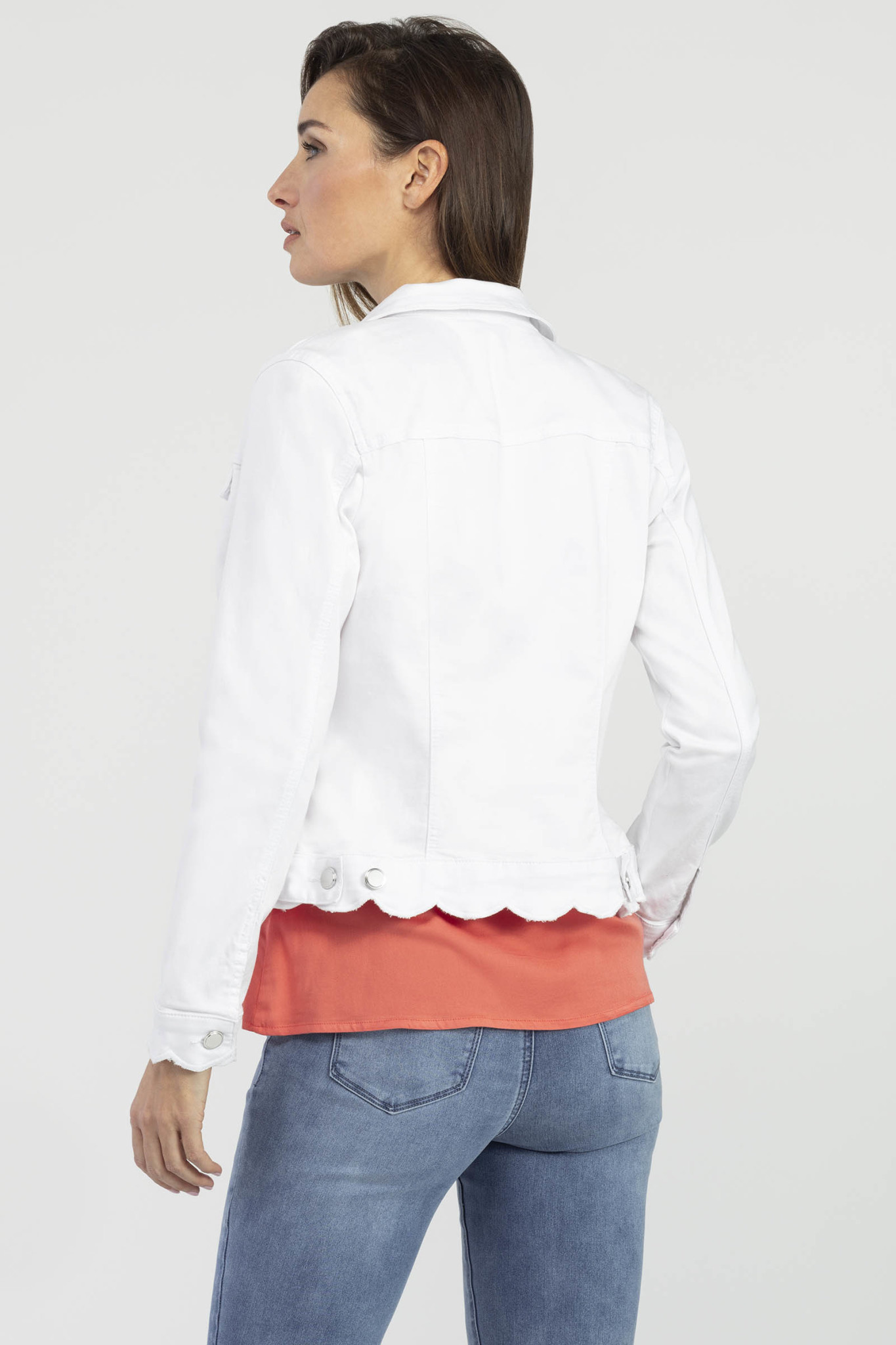 Scalloped Hem Denim Jacket