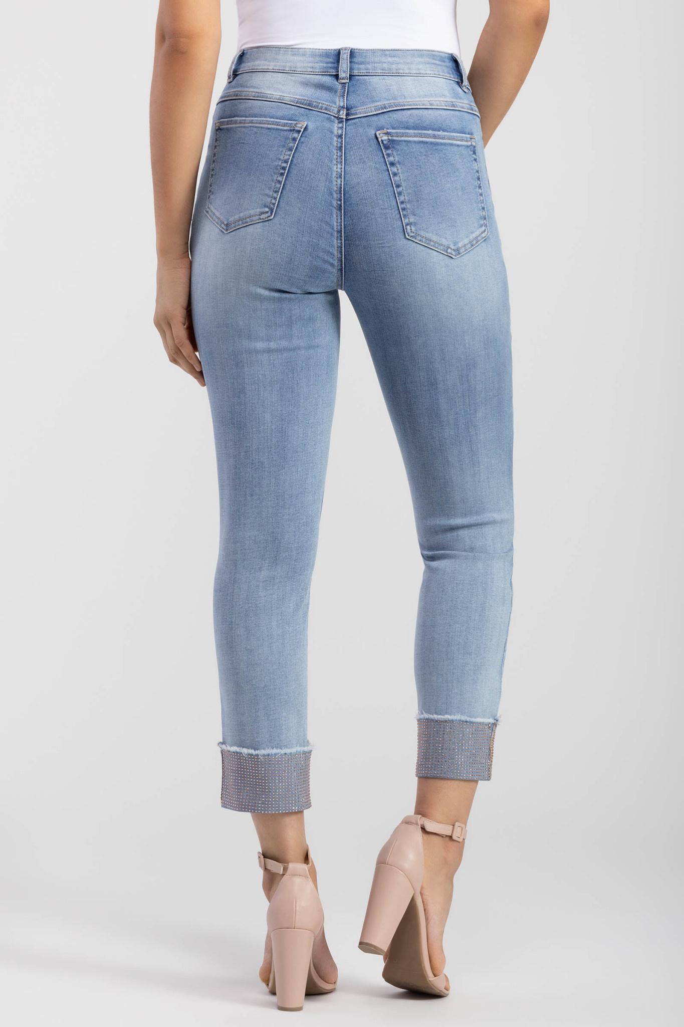 Rhinestone Cuff Jeans