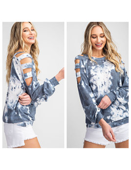 Tie Dye Ladder Sleeve Top