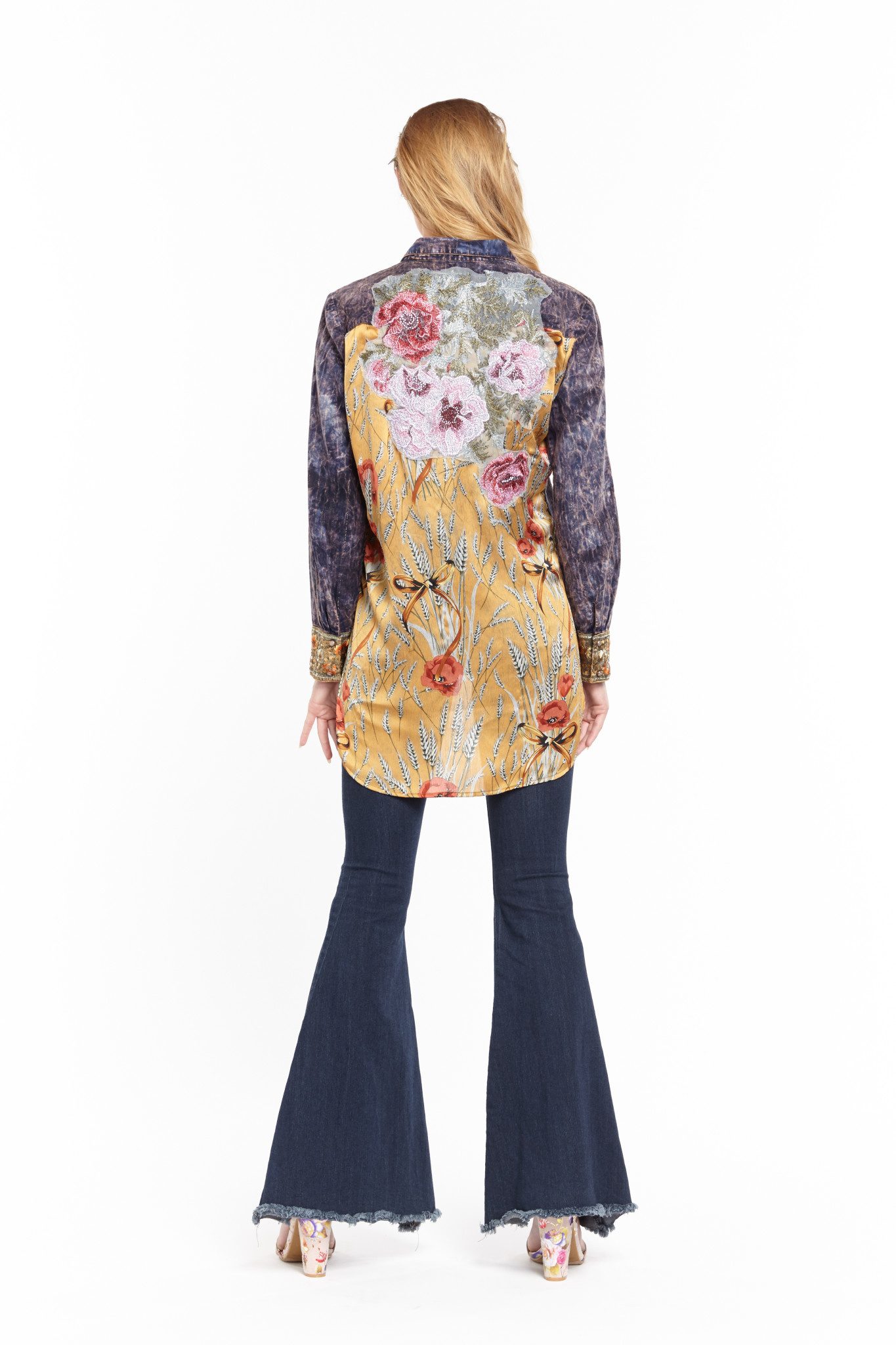 Washed Denim Embroidered Floral Top