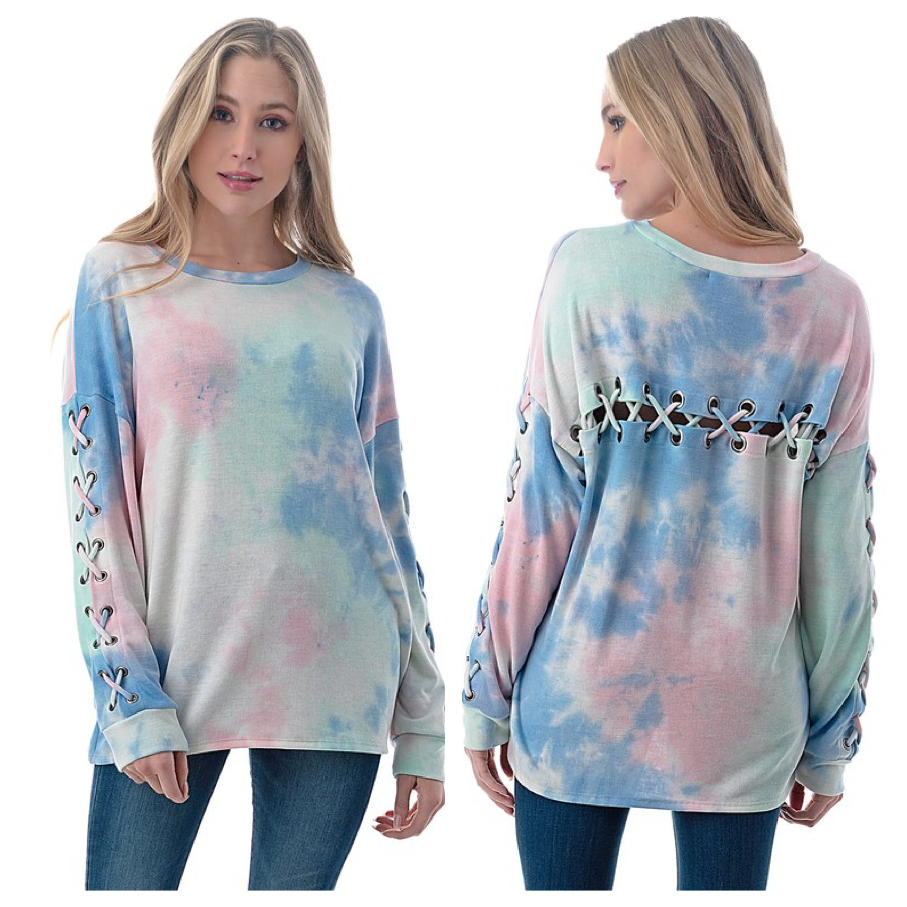 Lace Up Back and Sleeve Top